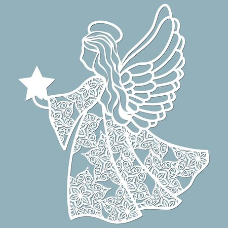 The icon, an angel template, holds fire in its hands. Template for laser cutting and plotter..