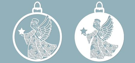 Icon in the form of Christmas toys, angel template, holding a star. Template for laser cutting and plotter.. Banque d'images - 132228594