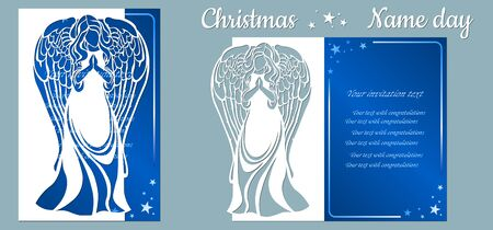Postcard with angel for holiday and congratulations, template. Template for laser cutting and plotter..