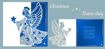 Postcard with an angel in the hands of a star, for holiday and congratulations, template. Template for laser cutting and plotter.. Banque d'images - 132227387