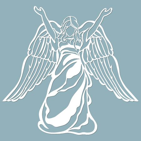 The icon, an angel pattern, held up his hands. Template for laser cutting and plotter.. Banque d'images - 132229072