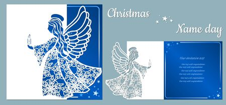 Postcard with an angel in the hands of fire, for holiday and congratulations, template. Template for laser cutting and plotter..