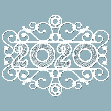 Image 2020. Lasercut. Set template for laser cutting and Plotter. Vector illustration. Pattern for the laser cut, potter and screen printing Stok Fotoğraf - 133626140