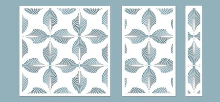 Set, panel for registration of the decorative surfaces. Abstract feathers, leaves, lines panels. Vector illustration of a laser cutting. Plotter cutting and screen printing
