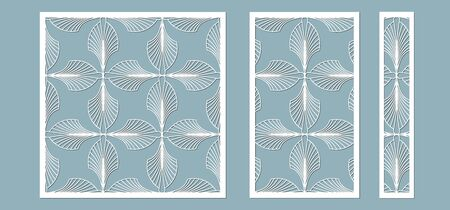 Set, panel for registration of the decorative surfaces. Abstract feathers, leaves, lines panels. Vector illustration of a laser cutting. Plotter cutting and screen printing Banque d'images - 132228950