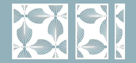 Set, panel for registration of the decorative surfaces. Abstract feathers, leaves, lines panels. Vector illustration of a laser cutting. Plotter cutting and screen printing Banque d'images - 132227301
