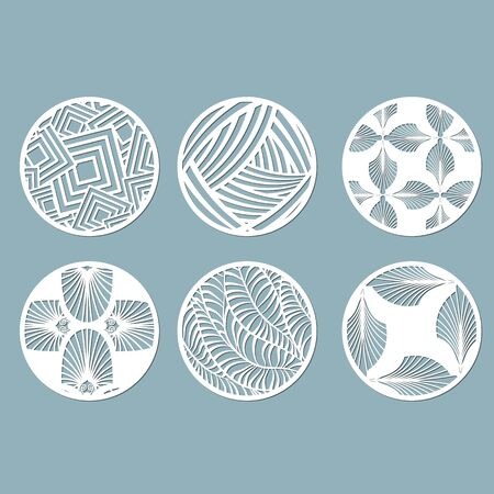 panel for registration of the decorative surfaces. Abstract circles, balls. Vector illustration of a laser cutting. Plotter cutting and screen printing Banque d'images - 132228200