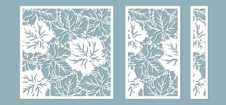 Grape leaves, or maple leaves. Decorative panels for decoration of glasses and different surfaces. Template for laser cutting, plotter, and silkscreen printing Illustration