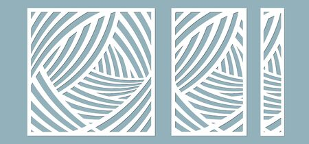 Set, panel for registration of the decorative surfaces. Abstract lines panels. Vector illustration of a laser cutting. Plotter cutting and screen printing Banque d'images - 132227348