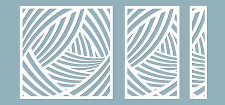 Set, pannello per la registrazione delle superfici decorative. Pannelli di linee astratte. Illustrazione vettoriale di un taglio laser. Taglio plotter e serigrafia