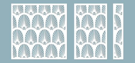 Set, panel for registration of the decorative surfaces. Abstract feathers, leaves, lines panels. Vector illustration of a laser cutting. Plotter cutting and screen printing Stok Fotoğraf - 132228708