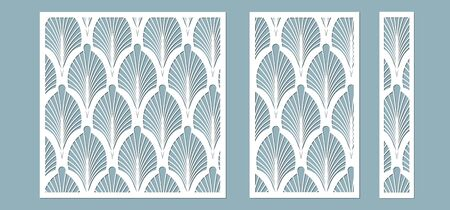 Set, panel for registration of the decorative surfaces. Abstract feathers, leaves, lines panels. Vector illustration of a laser cutting. Plotter cutting and screen printing Banque d'images - 132228386