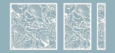 Shells of the sea in the frame. Laser cutting. Craft paper for decoration. Plotter, screen printing.. Banque d'images - 132109628