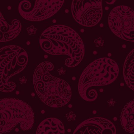 Paisley seamless on Burgundy background. Template for packaging paper.. 스톡 콘텐츠 - 133626145