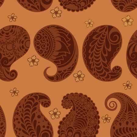 seamless Paisley pattern on an orange background. Template for packaging paper..