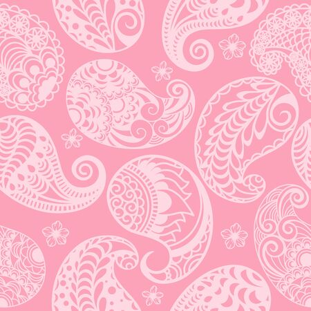 seamless Paisley pattern on a pink background. Template for packaging Ilustração