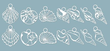 Shells of the sea in the form of pendants. Laser cutting. Craft paper for decoration. Plotter, screen printing.. Çizim