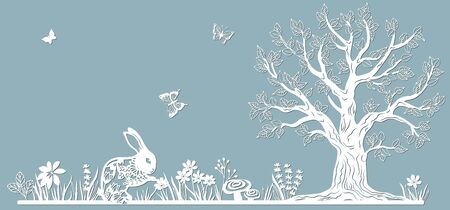 Rabbit. Hare in the meadow.Template for to cut with a laser from paper. Line with mushrooms, grass, and butterflies, wood and flowers. For decoration and design. Template for laser cutting and Plotter