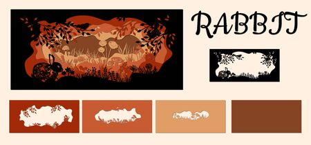Rabbit. Template hare in a clearing for laser cutting out of paper. Line with mushrooms, grass, and butterflies, wood and flowers. For decoration and design. Template for laser cutting and Plotter. Vector illustration..