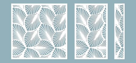 Set, panel for registration of the decorative surfaces. Abstract feathers, leaves, lines panels. Vector illustration of a laser cutting. Plotter cutting and screen printing... 일러스트