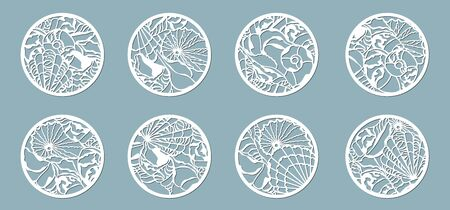 Shells of the sea in the ball. Laser cutting. Craft paper for decoration. Plotter, screen printing... Banque d'images - 133190041