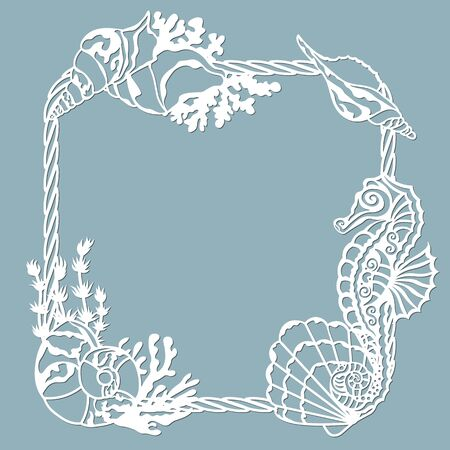 seahorse, Scallop, shell, coral, in the form of a corner for decaration. Template for laser, plotter cutting, and screen printing. The pattern for the mirrors and panela...