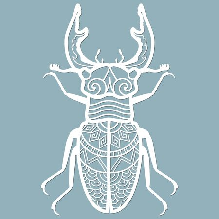 beetle deer paper. Laser cut. Set template for laser cutting and Plotter. Vector illustration. Pattern for the laser cut, plotter and screen printing... Stok Fotoğraf - 133626167