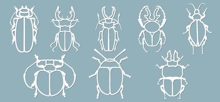 Set beetle paper. Laser cut. Set template for laser cutting and Plotter. Vector illustration. Pattern for the laser cut, plotter and screen printing... Stok Fotoğraf - 133626168
