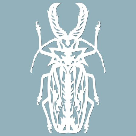 woodcutter beetle paper. Laser cut. Set template for laser cutting and Plotter. Vector illustration. Pattern for the laser cut, plotter and screen printing...