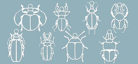 Set beetle paper. Laser cut. Set template for laser cutting and Plotter. Vector illustration. Pattern for the laser cut, plotter and screen printing... Stok Fotoğraf - 133626173