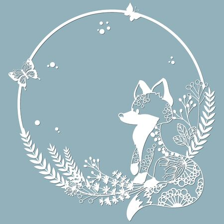 Fox in a round frame, with patterns, flowers, butterflies. Template for laser, plotter cutting, and screen printing. The pattern for the mirrors and panela...