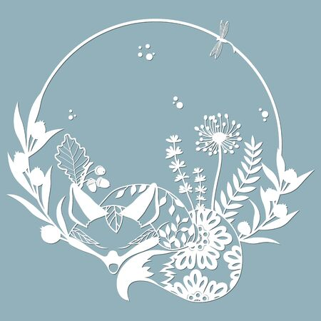Sleeping Fox in a round frame, with patterns, flowers, butterflies. Template for laser, plotter cutting, and screen printing. The pattern for the mirrors and panels... 스톡 콘텐츠 - 133626176