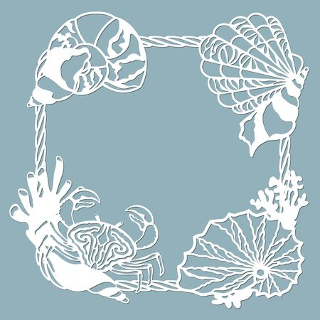 crab, Scallop, shell, coral, in the form of a corner for decaration. Template for laser, plotter cutting, and screen printing. The pattern for the mirrors and panela...
