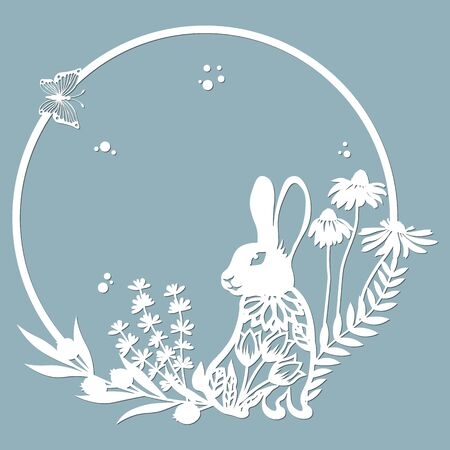 rabbit, hare in a round frame, with patterns, flowers, butterflies. Template for laser, plotter cutting, and screen printing. The pattern for the mirrors and panela... Stok Fotoğraf - 133626185