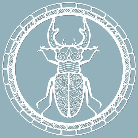 beetle deer paper. Laser cut. Set template for laser cutting and Plotter. Vector illustration. Pattern for the laser cut, plotter and screen printing...