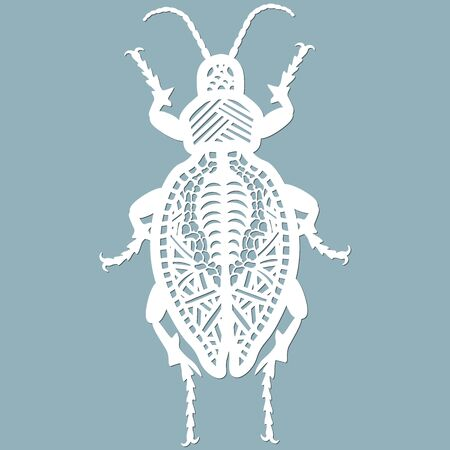 beetle paper. Laser cut. Set template for laser cutting and Plotter. Vector illustration. Pattern for the laser cut, plotter and screen printing... 일러스트