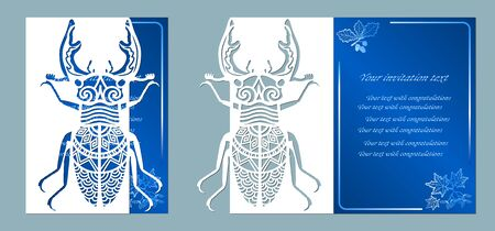 beetle deer paper. Laser cut. Set template for laser cutting and Plotter. Vector illustration. Pattern for the laser cut, plotter and screen printing