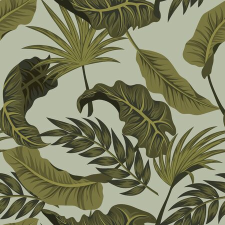 Tropical palm leaves, jungle leaves seamless vector floral pattern background 일러스트