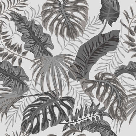 Tropical palm leaves, jungle leaves seamless vector floral pattern background Illusztráció