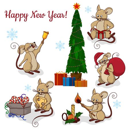 Vector illustration of cute mouse character ringing the bell. Vector cartoon stock illustration.Winter holiday, Christmas eve concept. For prints, banners, stickers, cards. Set..