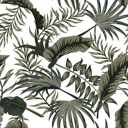 Tropical palm leaves, jungle leaves seamless vector floral pattern background..