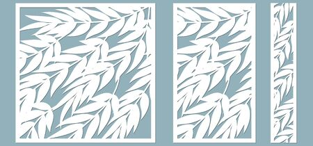 template for cutting. Palm leaves pattern. Laser cut. Vector illustration..