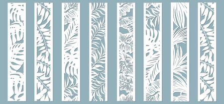 Laser cut ornamental panels with tropical pattern. Palm, fern. Set of bookmarks templates. Sticker set. Pattern for the laser cut, plotter and screen printing.. Ilustração