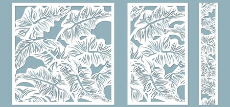 Set template for cutting. Palm leaves pattern. Laser cut. Vector illustration..