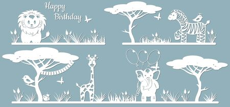 Animals on the line. Laser cut paper, template for DIY scrapbooking. Elephant, lion, Zebra, giraffe, bird, butterfly, balloons, flags. Animals, wildlife tree grass leaves From paper for plotter