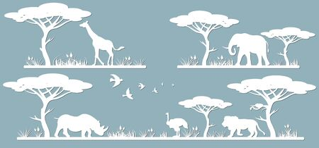 Animals on the line. Laser cut paper, template for DIY scrapbooking. Rhinoceros, giraffe, ostrich, elephant, lion. Animals, wildlife, bird, tree, grass sunset in Africa From paper for plotter Ilustração