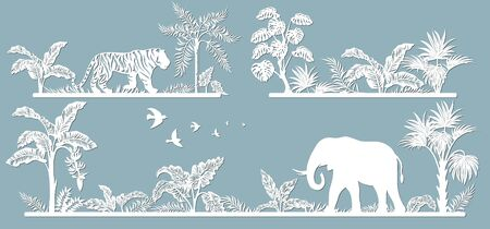 Animals on the line. Laser cut paper, template for DIY scrapbooking. Palm trees, tiger, elephant. Animals, wildlife, bird, tree, grass, leaves From paper for plotter