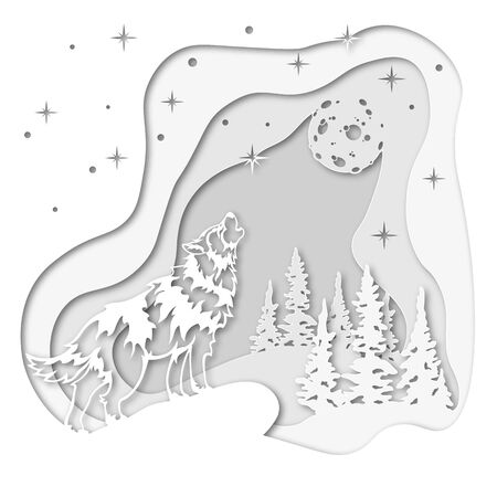 Wolf on the background of the winter forest, howling at the moon in the snow. For decoration and design. Template for laser cutting and Plotter. Vector illustration. Pattern for the laser cut, serigraphy Ilustração