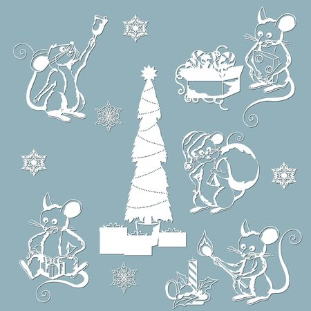 Christmas mice, snowflakes, Christmas toys, bell, Christmas tree. Set for laser and plotter cutting. Templates for the new year