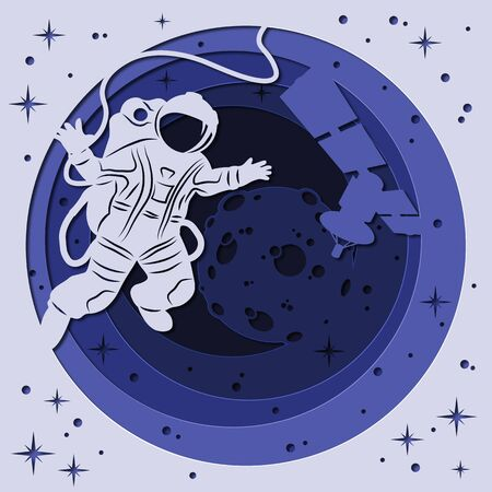 laser cutting, DIY scrapbooking astronaut, moon, space, spaceship. Template for screen printing and plotter cutting